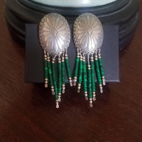 Sterling Silver Malachite Beaded Concho Earrings